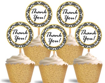 Thank You Cupcake Toppers, Damask and Gold, Printable Cupcake Toppers, Thank You, Favor Tags, Labels - Instant Download - DP485