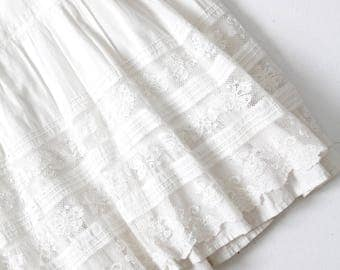 Edwardian petticoat, antique 1900s white skirt