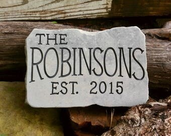 ESTABLISHED Stone - Personalized Garden Stone - Anniversary - Wedding - Garden Sign - Gift for Him - Closing Gift - New Home
