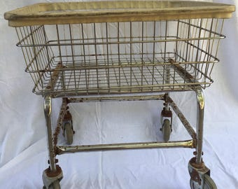 Vintage Metal Wire Frame Laundry Basket / Rolling Cart / Clothing Rack / Hamper / Bin Organizer with Wheels