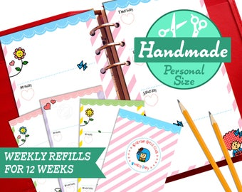 HANDMADE PERSONAL Week On Two Pages Diary Undated Refills Inserts Filofax (for 12 weeks)