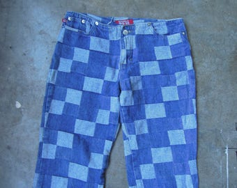 Vtg 90s Denim Patchwork Woven Jeans Low Waisted Distressed Small Medium 1990's
