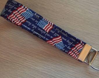 Key Fob Wristlet USA Patriotic Flag