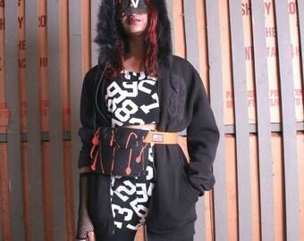 Rebel33 collegiate faux fux zippered hoody in black