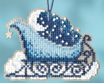 Celestial Sleigh Ornament - Christmas Cross Stitch Kit - Mill Hill Sleigh Christmas Ornament beaded counted cross stitch charm