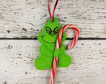 Mean Green candy cane holder ornament ~ Christmas ornament ~ stocking stuffer ~ grinchmas