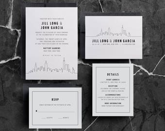 New York Wedding Invitation, New York Skyline, Manhattan Wedding, New York City, Wedding Invite, Printed, Invitation Suite