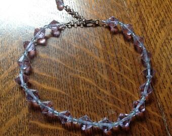 Vintage Glass Beaded Necklace, Lavendar Necklace, Glass Bead Necklace, 60's or 70's Necklace,