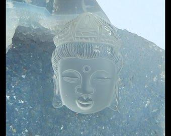 New,Carved Natural White Quartz Buddha Head Pendant Bead,36x26x14mm,23.2g