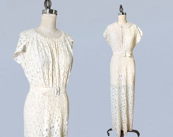 1930s Wedding Dress / 30s Lace Gown and Matching Jacket / Bridal Gown and Top / Super Flattering / L