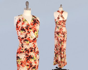 1930s Gown and Jacket Set / 30s Colorful Abstract Floral Crepe Dress / Bias Cut