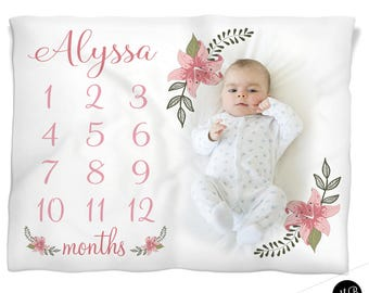 Personalized baby gifts etsy shabby floral milestone photo baby blanket personalized baby gift floral baby blanket monthly negle Gallery