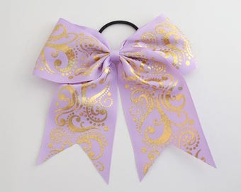 Cheer Bow Lavender with  Gold Holographic Foil Swirls
