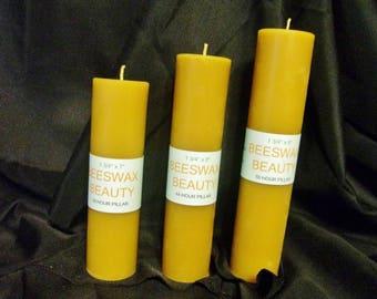 100% Pure Beeswax 3 Pc Pillar Candle Set