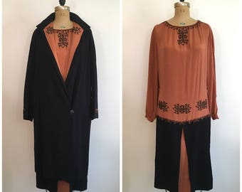 1920s Embroidered Crepe Dress Coat Outfit Set 20s The Halle Brothers Company