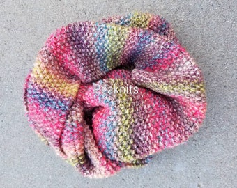 Scarf - Handknit Striped Moss/Seed Stitch ~ Pink, Purple, Blue, Green ~ Extra Wide, Heavy, Thick, Winter Scarf, Acrylic, Machine Wash/Dry