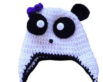 Knit Panda Bear Hat Beanie with Purple Flower