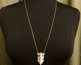 Spine on Long Silver Chain Necklace