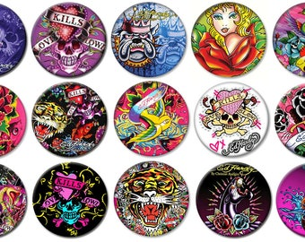 """2-1/4"""" - ED HARDY -  Lot of 15 Buttons - Pin Back Button Badge"""