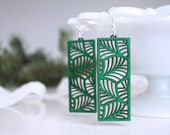 Laser Cut Earrings, Green Wooden Earrings, Rectangle Earrings, Lightweight Earrings, Christmas Earrings, Stocking Stuffer, Green Gift