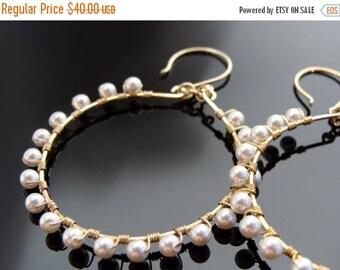 Pearl 14K Gold Filled Hoop Earrings