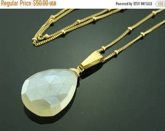 White Pearl Chalcedony 14K Gold Filled Necklace Pendant