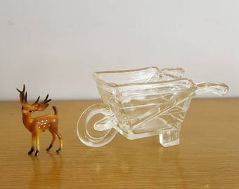 Pressed glass clear wheelbarrow candy dish