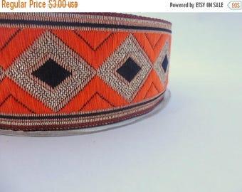 ilovesales Orange,Black and Gold Diamond  Embroidered Ribbon- 1 yard