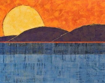 "Sunset Landscape Painting ... 30 x 48"" ... Original Painting on Canvas ... Ready to Hang Art ... Contemporary Landsape"
