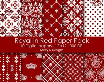 40% off Royal In Red Paper Pack - 10 Printable Digital Scrapbooking papers - 12 x12 - 300 DPI