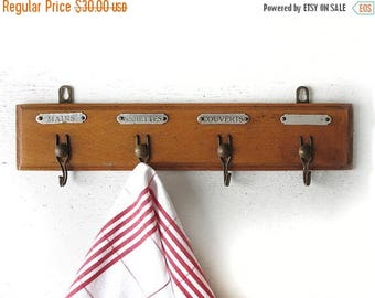 Vintage French Wooden Kitchen Towel Rack. France Decor .French Kitchen  Decor.cloth Rack