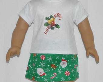 Christmas Candy Cane Skirt Set Doll Clothes Made To Fit 18 Inch American Girl Dolls