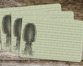 Handmade Vintage Style Old Fashioned Octopus Recipe Cards from Curious London