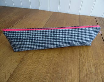 Grey Dogstooth Check Knitting Needle Bag Pouch