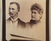 """Antique Memorial Death Cabinet Card Photo """"The Loss of Two"""" 1800s Fashion Vintage Photograph Paper Ephemera Collectible Photo Card Mounted"""