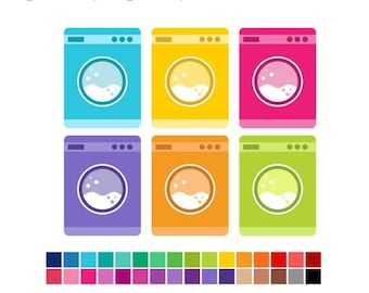40% OFF SALE Laundry Clipart - Washing Machine Digital Clipart - Cleaning Clipart -  House Chores - Planners Clip Art - Commercial Use