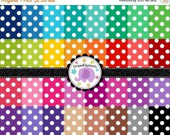 40% OFF SALE Large Polka Dot Digital Paper, Polka Dot Digital Scrapbook Paper, Dotty Digital Backgrounds, Instant Download, Commercial Use