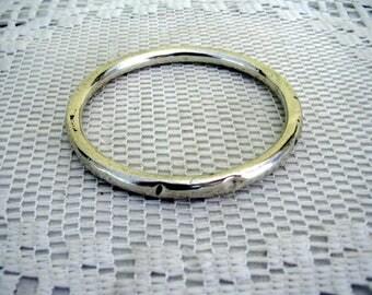 Vintage Hollow Sterling Silver Bangle Antique Bracelet