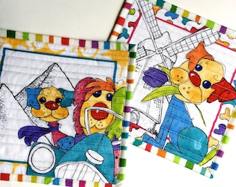 Quilted Puppy Mug Rugs - Dog Lovers Gift - Set of 2 Quilts - Bright Colors - BFF Travel Gift - Holland Pyramids - Quilt Placemats -Fiber Art