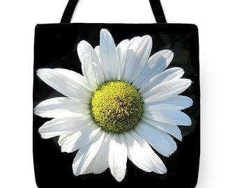 Shasta Daisy Tote Bag, Grocery Tote Bag, Flower Tote Bag,  Summer Tote Bag, Beach Tote Bag, Patrushka Flower Totes, FREE SHIPPING USA
