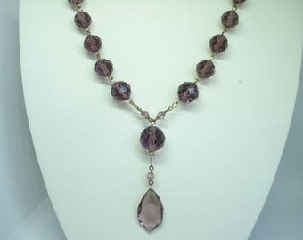 Art Deco Necklace Amethyst Glass Beads 1920's 1930's