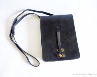 Vintage Leather Messenger Bag Tan Messenger Dark Brown Satchel Distressed 60s