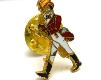 Johnny Walker Label Lapel Pin Tie Tack Red White Blue Black enamel on Gold Tone Metal
