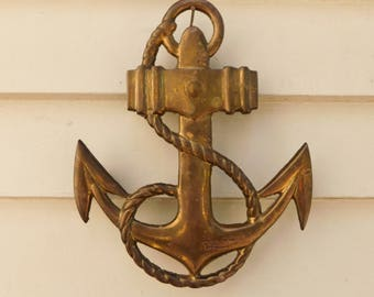 Vintage Brass Anchor Trivet, Nautical Decor, Brass Wall Hanging