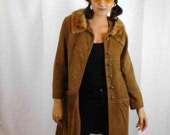 Birthday Sale Vintage Suede Leather Button Up Coat With Fur Collar Size Small