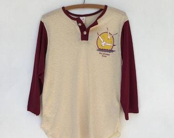 Vintage 70s Port Aransas Texas Henley Long Sleeve Thin 50/50 Shirt