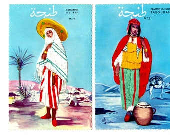 2 Vintage Morocco Embroidered Unused Postcards