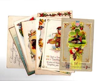 12 Antique Thanksgiving Unused Blank Postcards - Vintage Thanksgiving Crafts, Scrapbooking, Holiday Decor