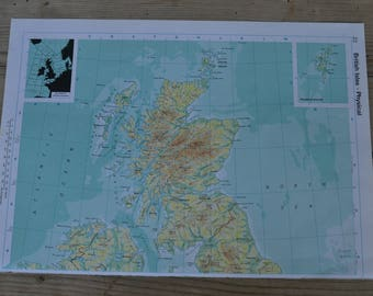 British Isles Vintage Map Print