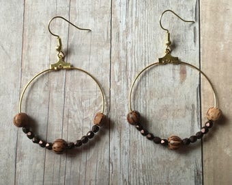 Gorgeous wood and metallic brown beaded earrings